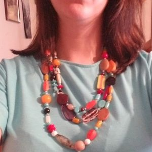 Catos 3 layer beaded multicolored necklace